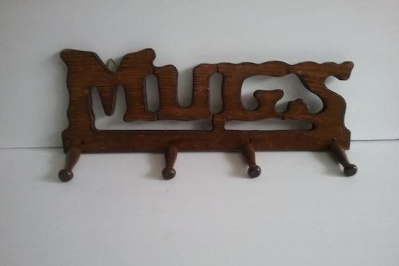 Mid-Century Modern Wood Mug Rack