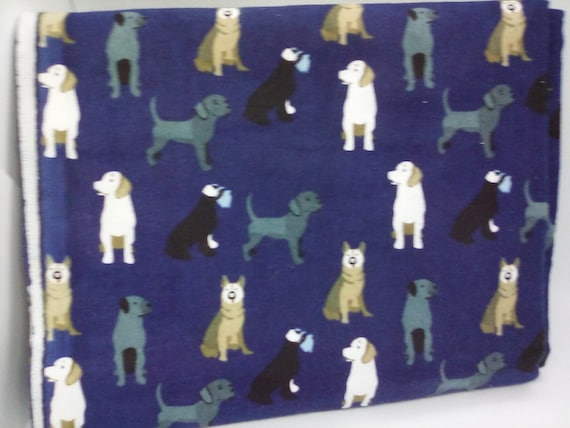 2 Yards Dog Print Flannel Material, Navy Blue Cotton Flannel, Dogs Print Fabric