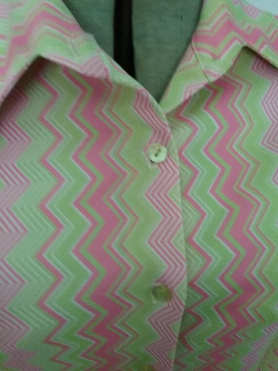 Vintage Polyester Blouse, Pink and Green Chevron, Groovy
