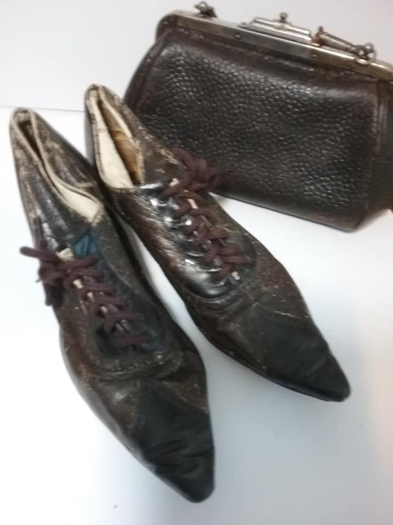 Black Antique Edwardian Leather Shoes and Matching