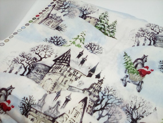 3 Yards Christmas Cotton, Retro Hometown Holidays Fabric, Christmas Novelty Light Cotton Material