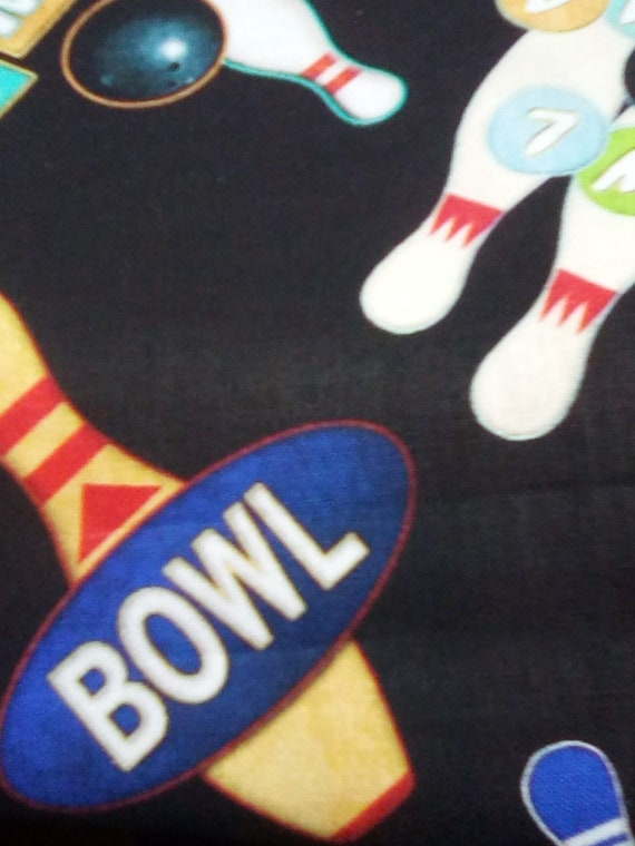 1 Yard Cotton Novelty Fabric, Retro Bowl-a-Rama Novelty Fabric,  Retro Bowling Advertising, Bowling Enthusiasts Man Cave Accents