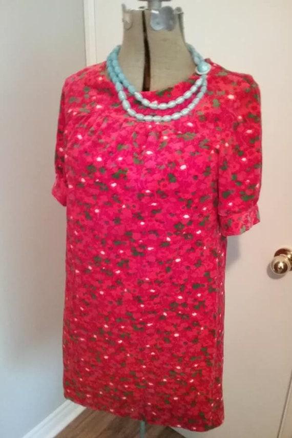 1970's Vintage Red Velour Mini Dress, pink floral
