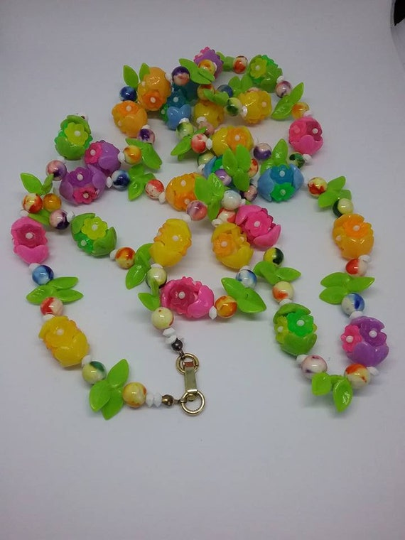 Plastic and Glass Fruit Salad, Boho Floral Necklace