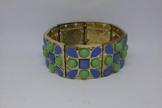 Retro Stretch Cuff, Blue and Green Stretch Cuff, Retro Wide Bangle, Retro Wide Bracelet, Milk Glass Look Cuff,  Statement Retro Bracelet