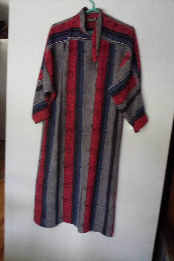 Vintage 1980's Boho Style, 80's Maxi Dress, Size 8-10 Vertical Stripes Vintage Dress, Kaftan Style