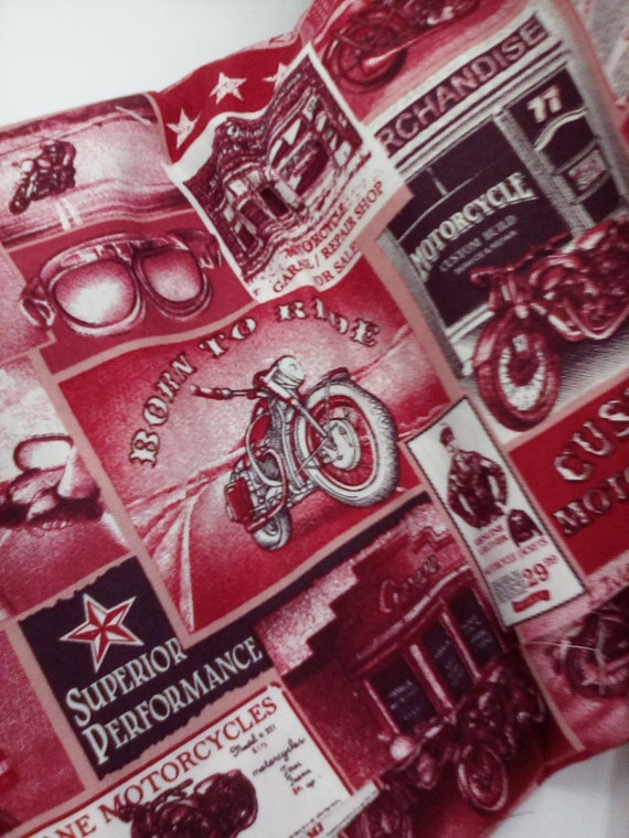 2 Yards Cotton Novelty Fabric, Vintage Style Motorbikes, Motorcycle Ride Material, Cotton Poplin in Red and Black