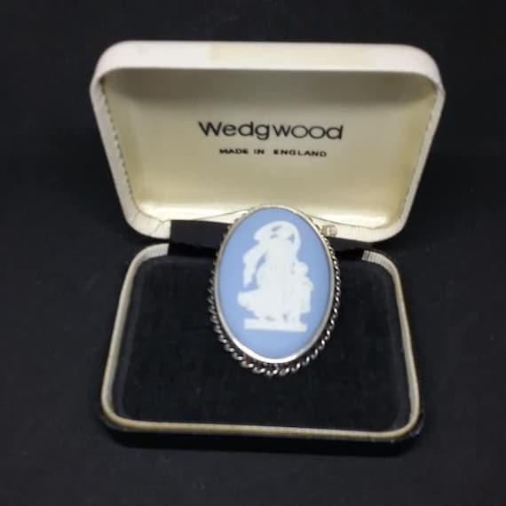 Vintage Wedgewood Blue Jasper Brooch