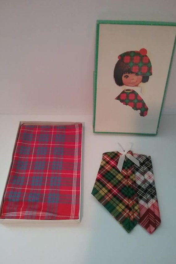 Set of 3 Vintage Tartan Handkerchiefs, Unused, Original Box