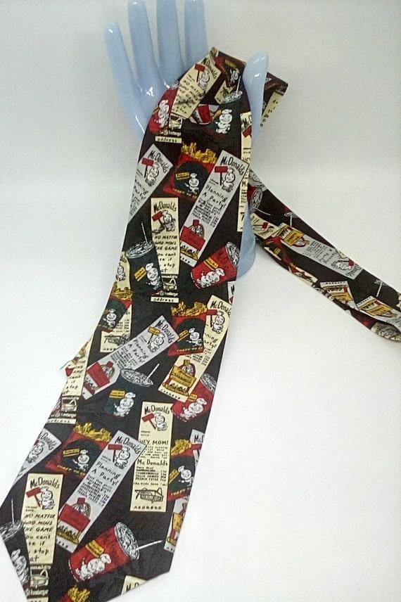 Vintage McDonalds Tie, Novelty McDonalds Employee