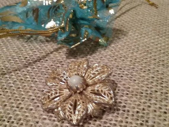 Vintage Filigree Flower Brooch, Faux Pearl