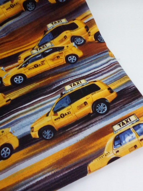 1 Yard Cotton Novelty Fabric, New York Yellow Taxi Cabs Print, Cotton Taxi Print Material