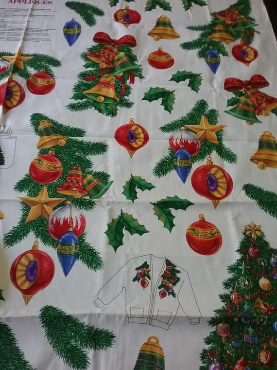 Christmas Material, 90's Victorian Christmas Ornaments Applique No Sew Panel, VIP Cranston Print, Out of Print, Rare