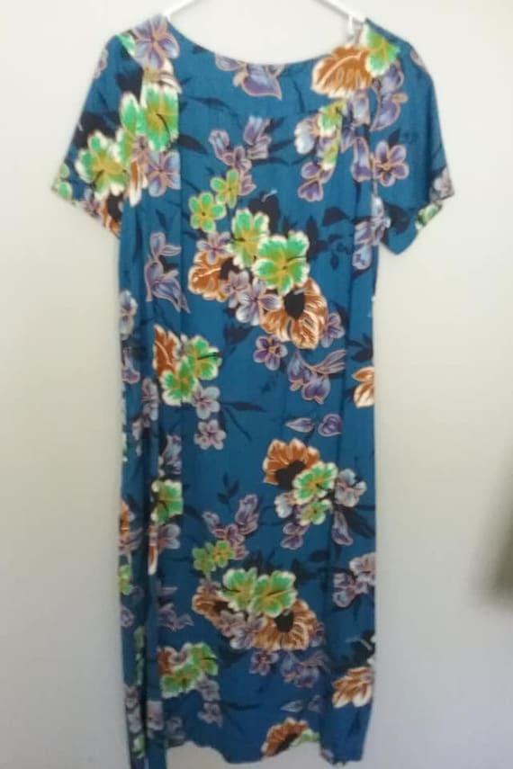 1950's Hawaiian Maxi Dress, Barkcloth Floral