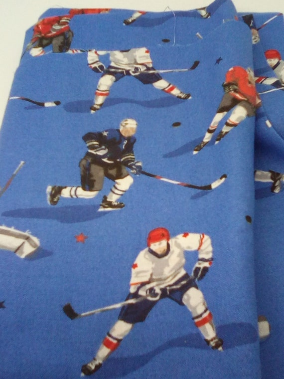 1 Yard Novelty Cotton Fabric, Hockey Players Print, Blue Cotton Fabric With Hockey Theme, 100% Cotton Fabric for Face Masks