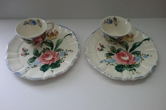Vintage Italian Snack Plates and Cups, Vintage Made in Italy Floral Plate and Cup, Italian Hand Crafted Snack Plate and Cup, Matching Set