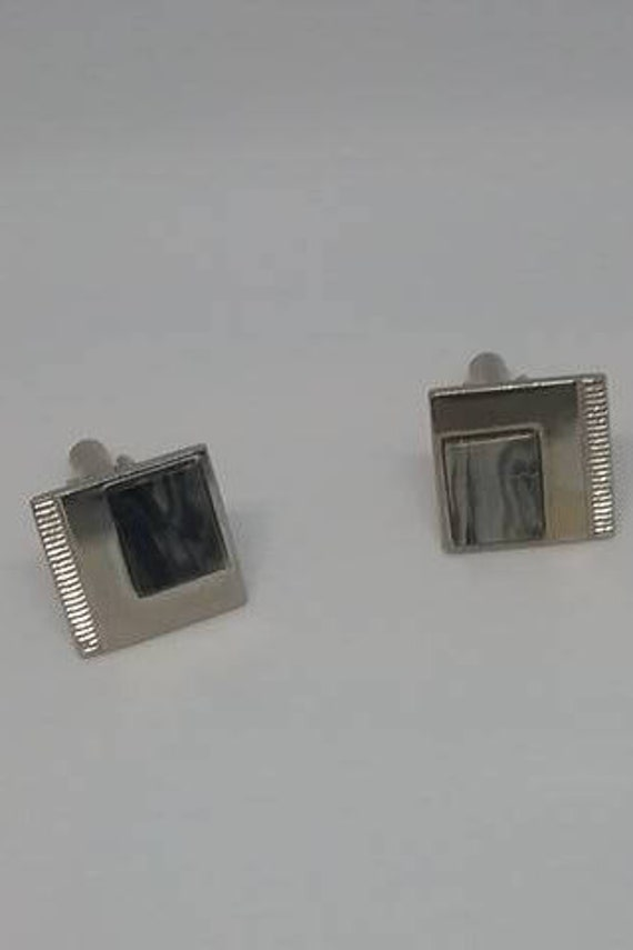 Vintage Cuff Links, Silver tone, Abalone corner