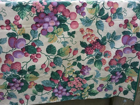80's Large Tablecloth, Floral and Fruit