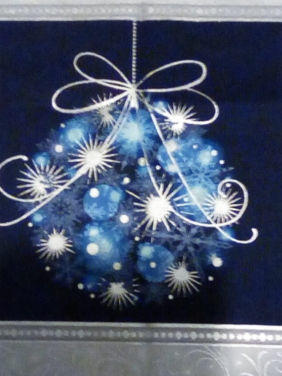 Christmas Quilting Panel, Blue and Silver Christmas Panel, Christmas Sewing Fabric Panel, Festive Fabric Panel