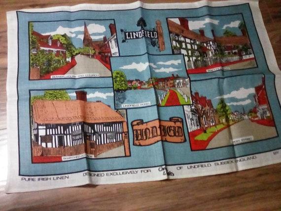 Irish Linen Tea Towel, Lindfield Sussex England Landmarks, British Linen Souvenir Towel