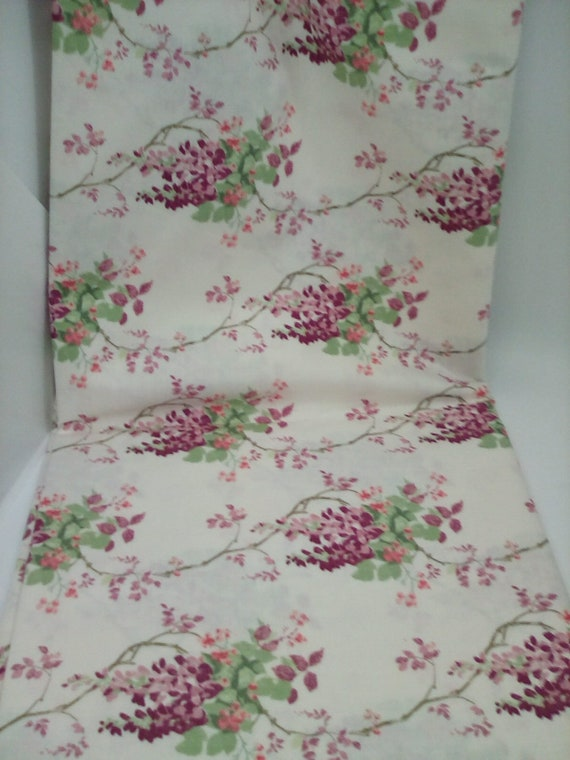 2 Yards Laura Ashley Material, Floral Cotton Fabric, Wisteria Blooms in Purple