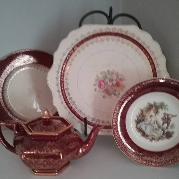 Vintage Mismatched Tea Set, Burgundy China Teapot and Dishes,