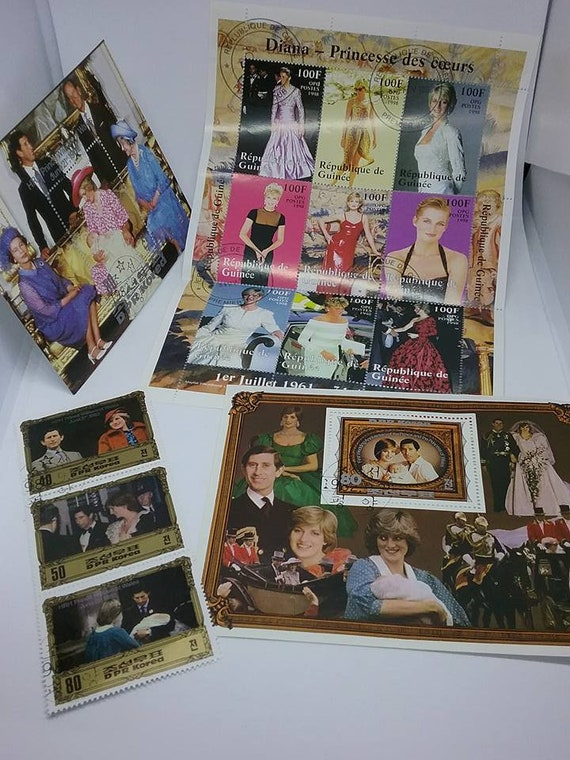 Lady Diana Collector Stamps, Vintage Diana Collector Stamps, Lot of Lady Diana Stamps, Lady Diana Spencer Stamps, Diana Collectible Stamps