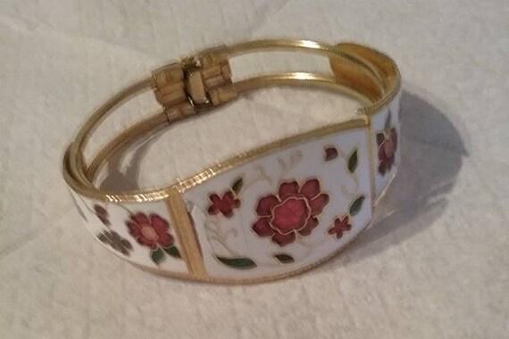 Vintage Floral Enamel Cloisonne Hinged Cuff,