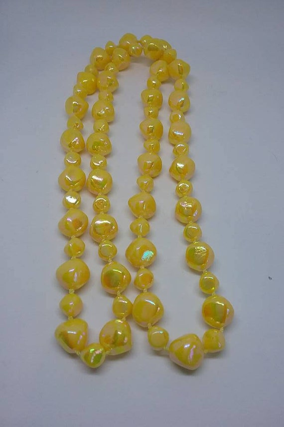 Vintage Acrylic Yellow Iridescent Beads,