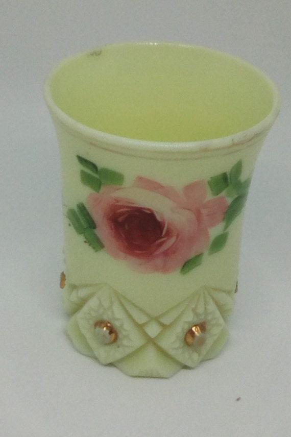 Antique Vaseline Custard Glass, Krys-Tol Signed Diamond and Peg Glass,  Hand painted Rose on Custard Cut Glass, Toronb 1912 Souvenir