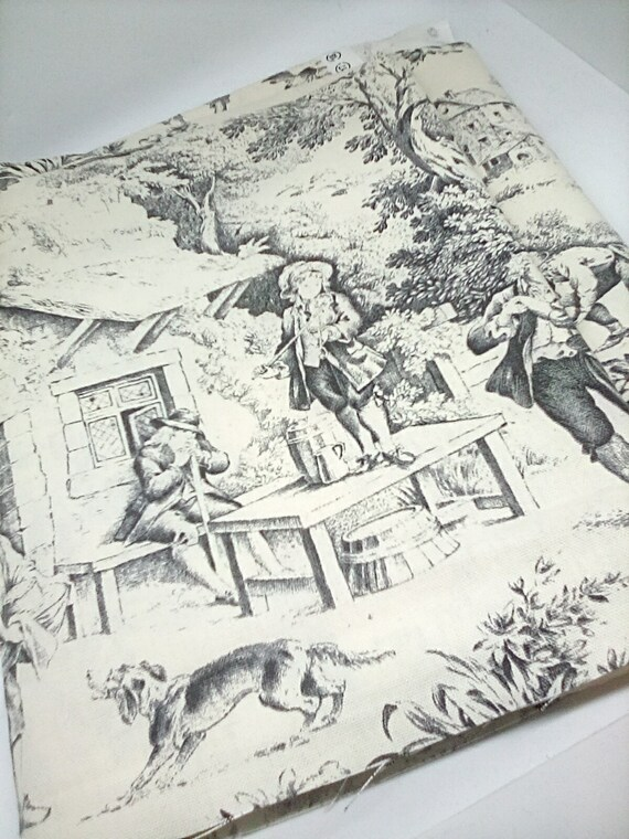 2 Yards French Toile Fabric, STOFF France Festive Noir, Medium Weight Cotton Toile Material
