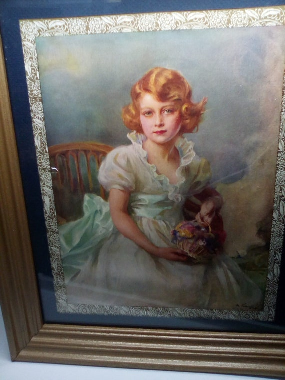 Princess Elizabeth Portrait at Age 7,  Queen Elizabeth as a Child, Painted in 1933, Royal print of Queen Elizabeth