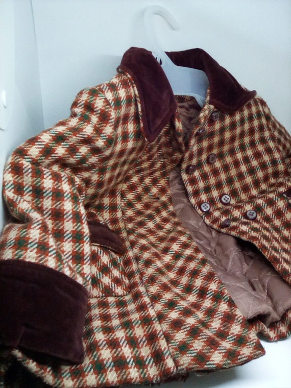 1960's Child's plaid Dress Coat, Vintage Velvet Trimmed Little Girls Coat, Wool Blend Coat with Quilted Lining