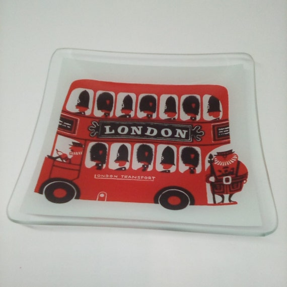London Busses Trinket Dish, London Double Decker Bus Dish, London Souvenir Trinket Dish