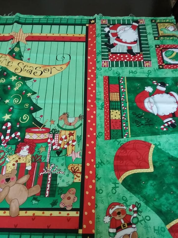 Christmas Material, Santa Fabric, Here Comes Santa Sewing Panel, Stockings and Tree to Make