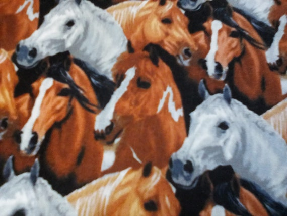 2 Yards Cotton Novelty Fabric, Horses Theme, Horse Collage Material