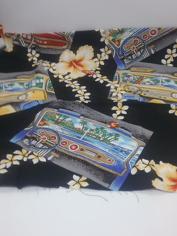 Novelty Hawaiian Material, Car Dashboard, Hibiscus and Tiki, Rayon Blend Fabric