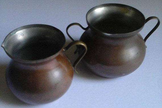 Vintage Copper Sugar and Creamer Set,