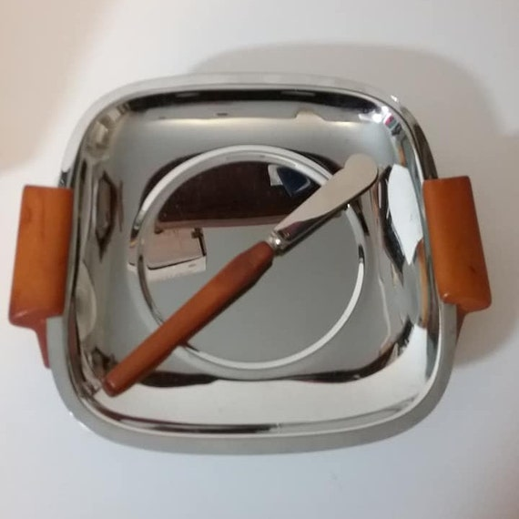 Mid-Century Mod Glo-Hill Chrome Tray with Knife