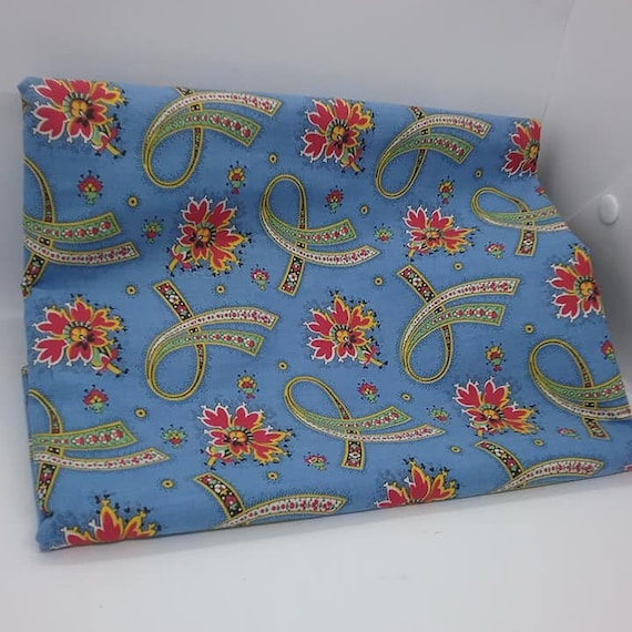 Cotton Print Material, 2 Yards, Floral Fabric,