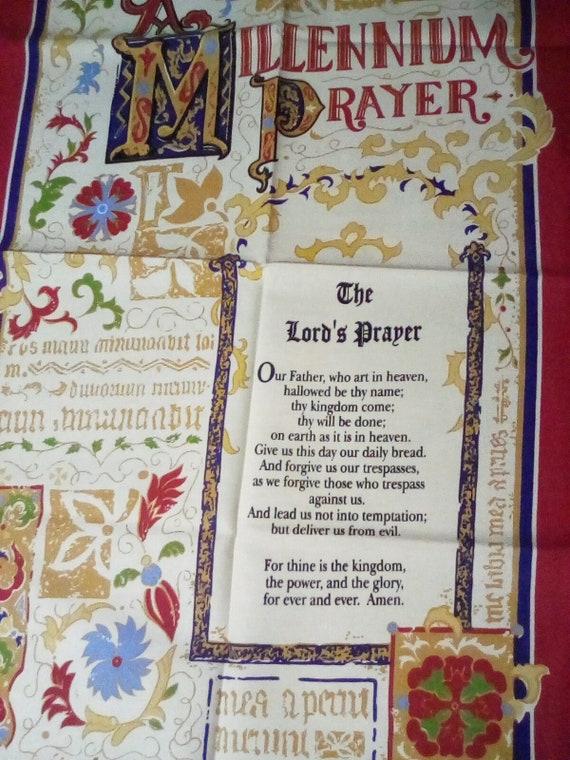 Vintage Cotton Tea Towel, Millennium Prayer Fabric Towel,  The Lord's Prayer Souvenir Vintage Cotton Towel