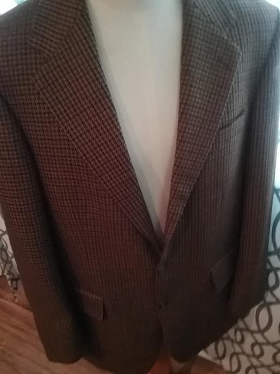Wool Sport Jacket, Vintage Houndstooth Wool Sport Coat, Brown Jacket