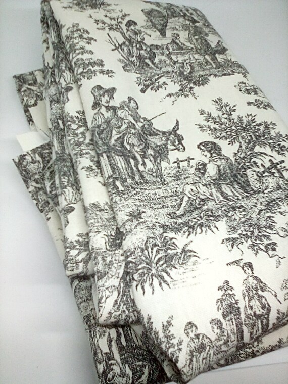 2 Yards Toile by Waverly, Cotton Toile Rustic Life Toile Noir