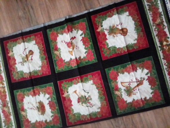 Quilting Cotton Fabric Panel, Christmas Fabric Panel, .A Christmas Instrument Sewing Panel