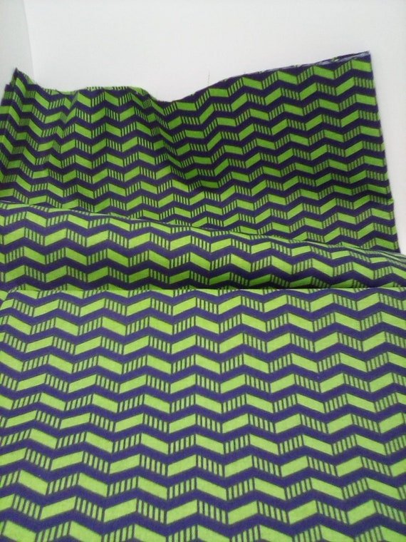 2 Yards Cotton Fabric, Blue and Green Chevron Print, Chevron Quilting Cotton Material