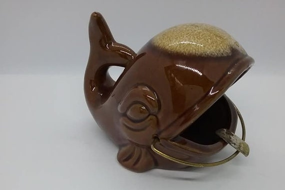 1950's Ceramic Whale Ashtray, Brown