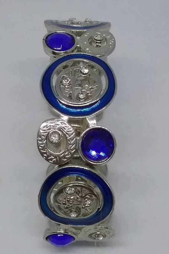 Blue Stretchy Bracelet, Retro Stretchy Bracelet, Blue and Silver Stretch Bracelet, Retro Geometric Design Bracelet, Stretchy Mod Bracelet