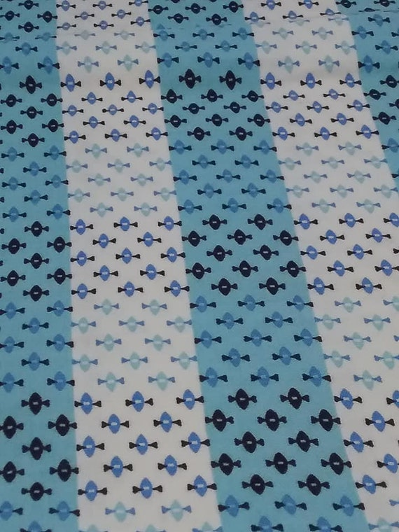 1960's 1 Yard Cotton Material, Black Diamonds on Blue and White Fabric,