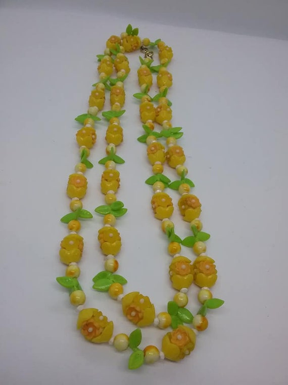 Vintage Long Flapper Style Fruit Salad Thermoset Necklace, Orange, Yellow and Green