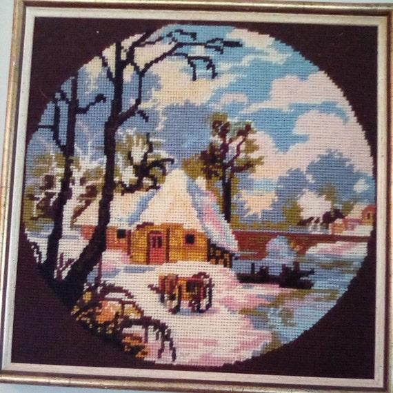 Framed Needlepoint, Needlepoint Landscape, Vintage Needlepoint